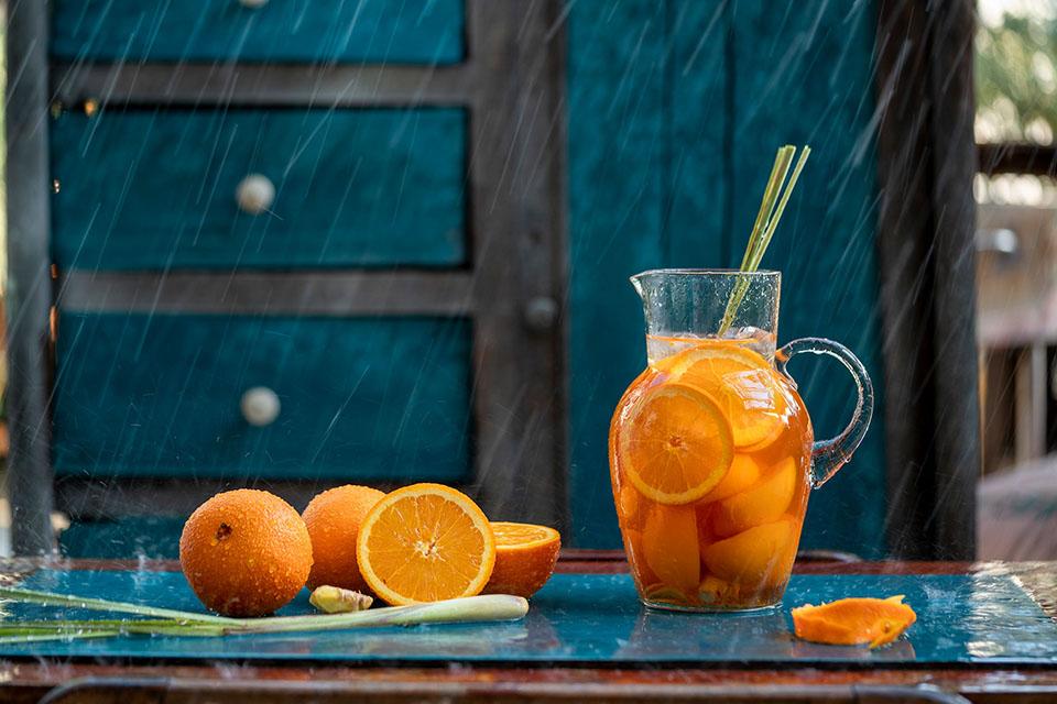 Trà cam sả với bột sả